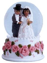 Bride and Groom Mini Water Globe African American